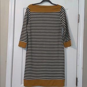 Isaac Mizrahi gold black striped dress